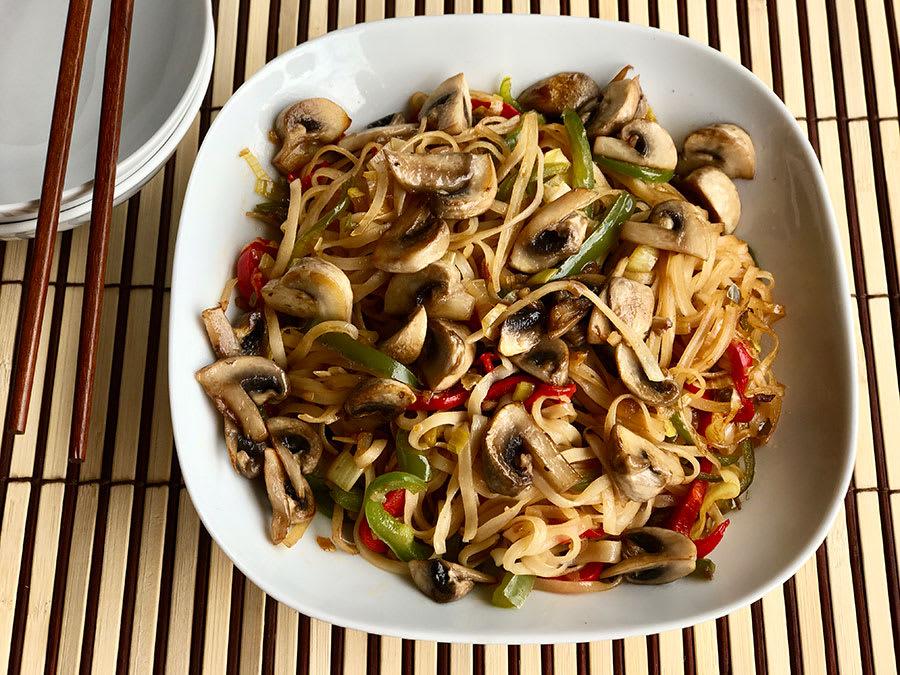 Comida china recetas tallarines verduras